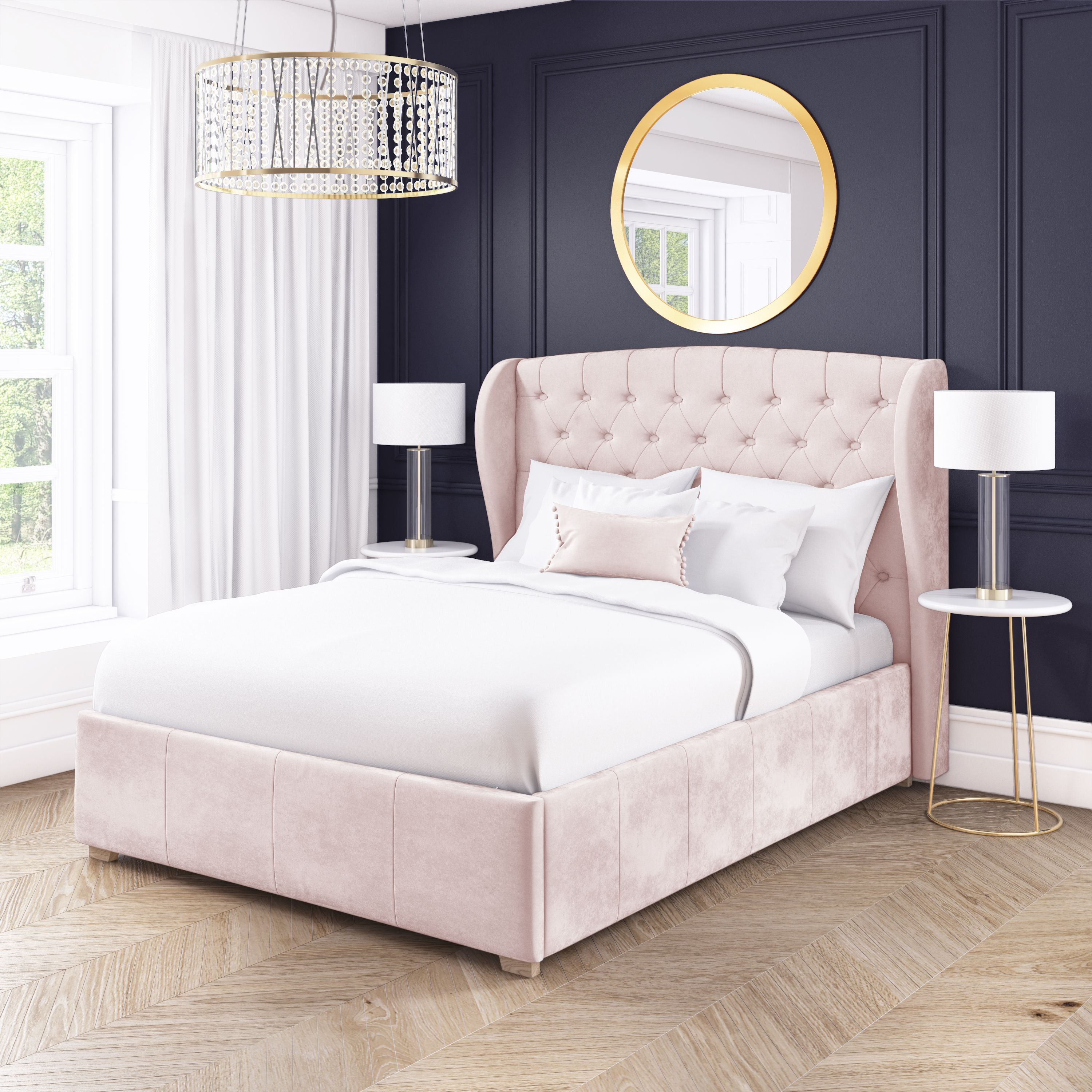 Safina Baby Pink Velvet Ottoman Bed Frame With Buttoned Headboard