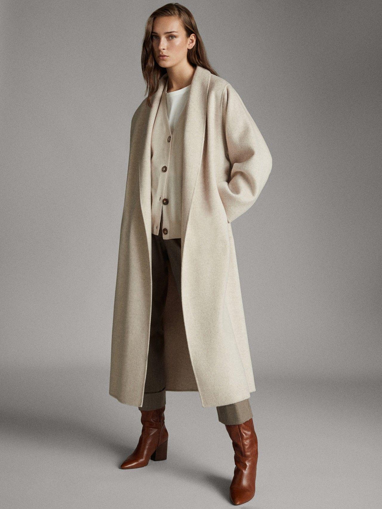 Massimo Dutti Mujer Cardigan Cuello Pico Botones Lana Beige M Cardigan Coat Coat Outfits