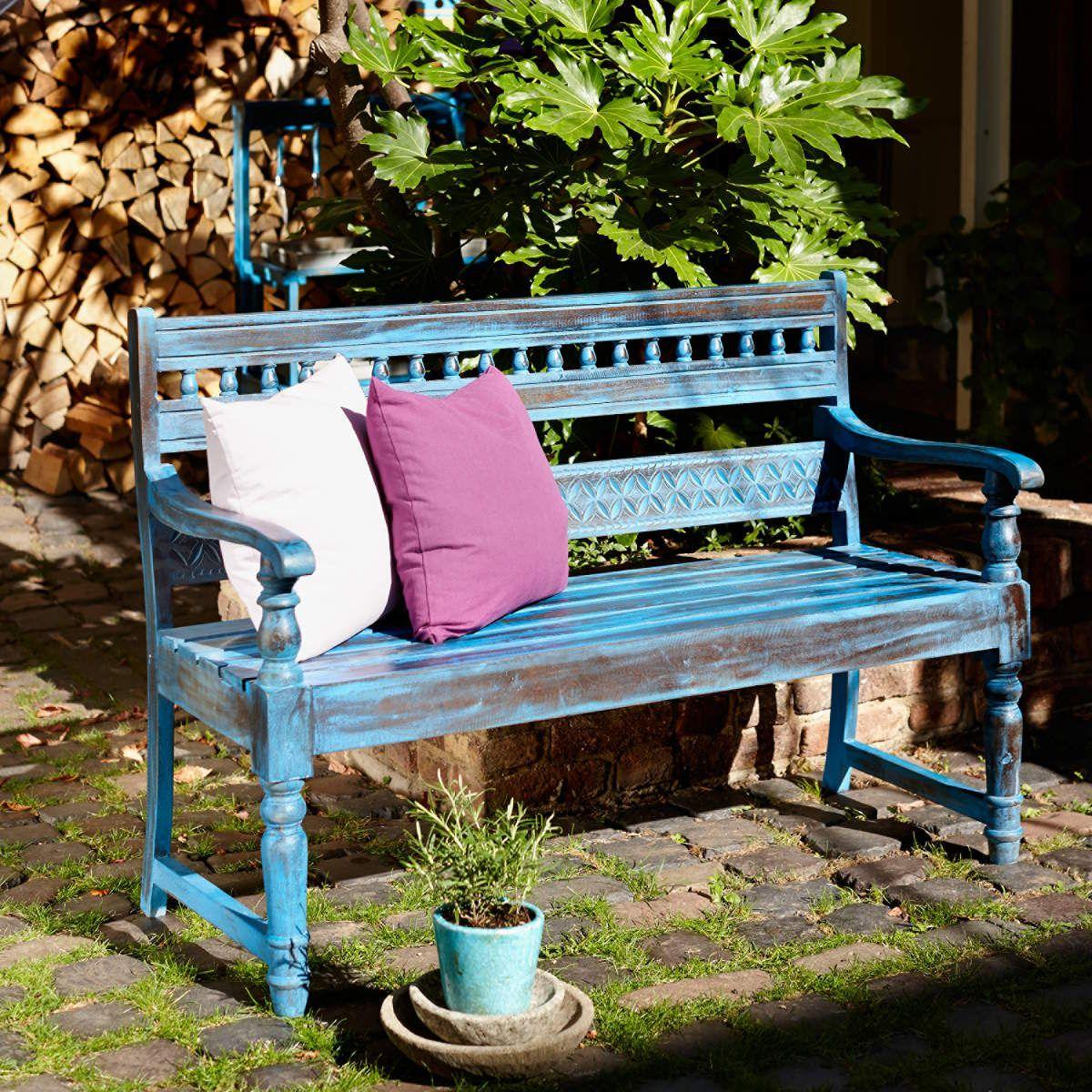 Blue Shabby Bench
