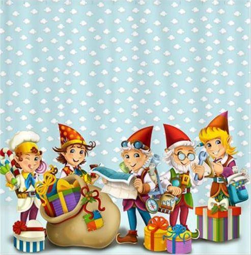 Santas Elves Shower Curtains From Christmas Shop