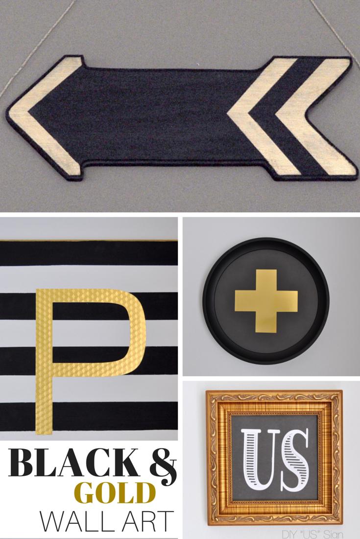 Diy black u gold wall art free printables signs madeinaday diy