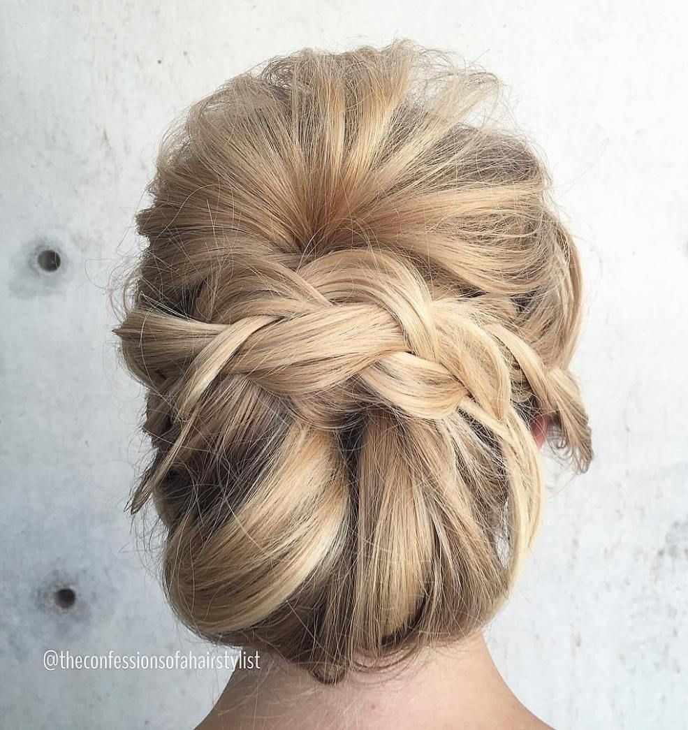 most delightful prom updos for long hair in messy chignon