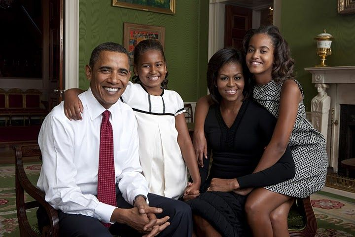 President Barack Obama, First Lady Michelle Obama, and their daughters, Malia and Sasha, sit for a family portrait in the Green Room of the White House, Sept. 1, 2009. (Official White House Photo) Photo by Annie Leibovitz