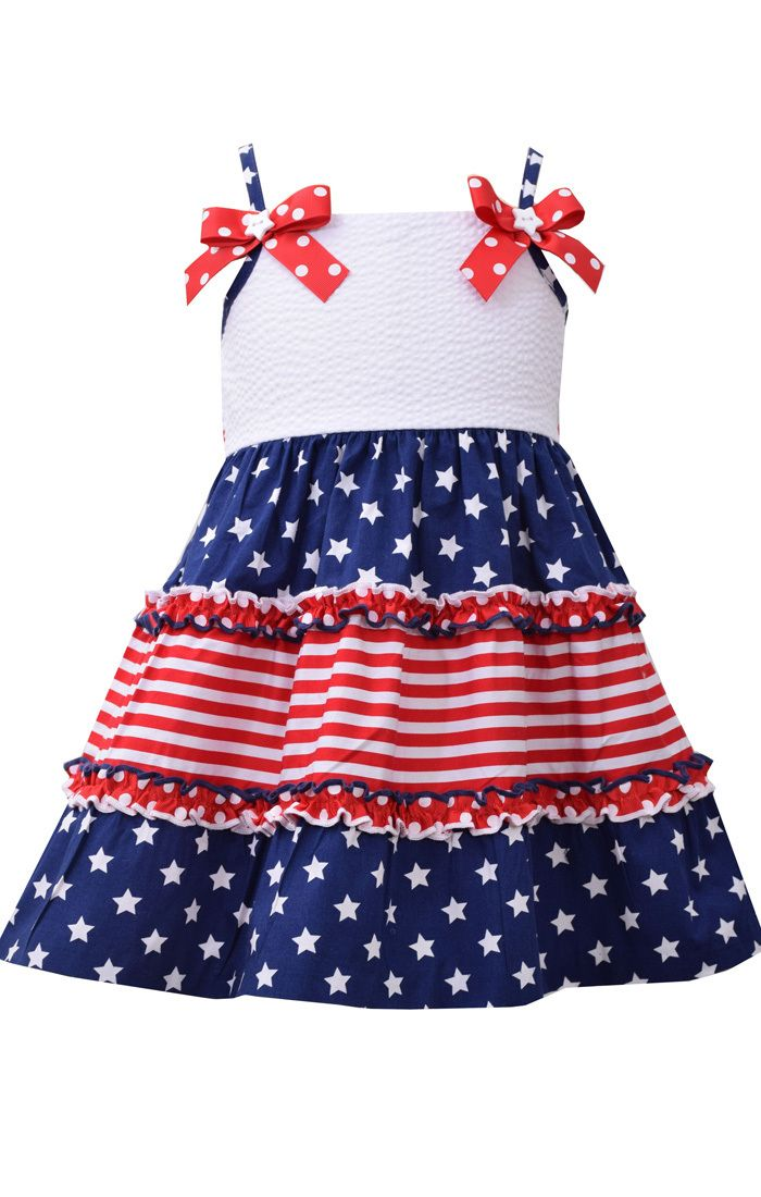a8d45c65e99 Bonnie Jean Girl s 4th of July Stars and Stripes Dress 2T 3T 4T ...