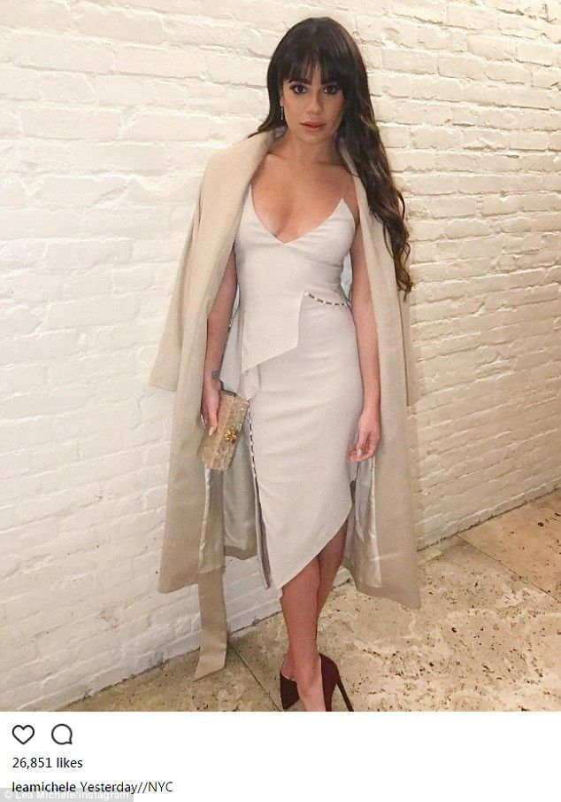 Lea Michele poses in cleavage-baring cocktail dress in NYC   Lea ...