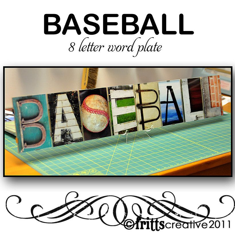 Baseball Alphabet Photography 8 Letter Word Plate Framed
