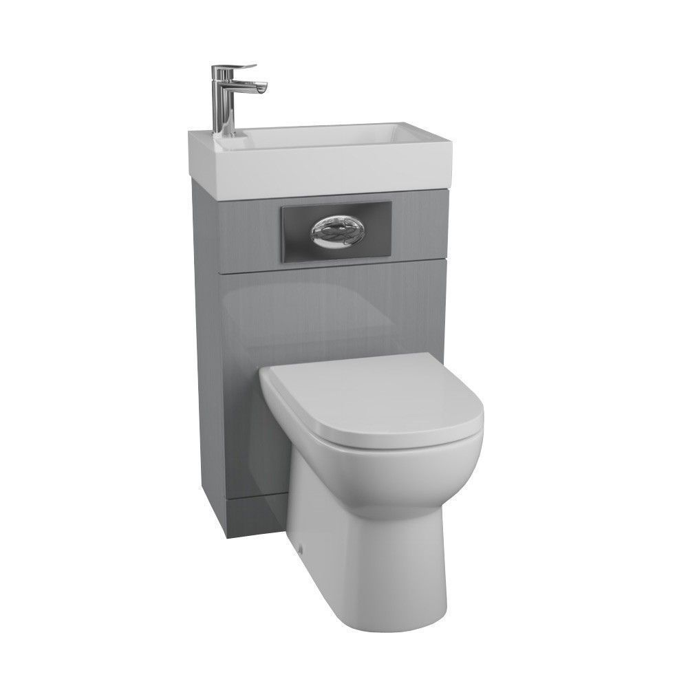 Manhattan Gloss Grey Space Saving toilet with sink combined ...