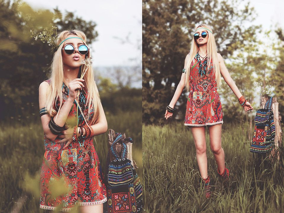 Kristina Dolinskaya - My Dress Room Orange Patterned Romper, My Dress Room Round…