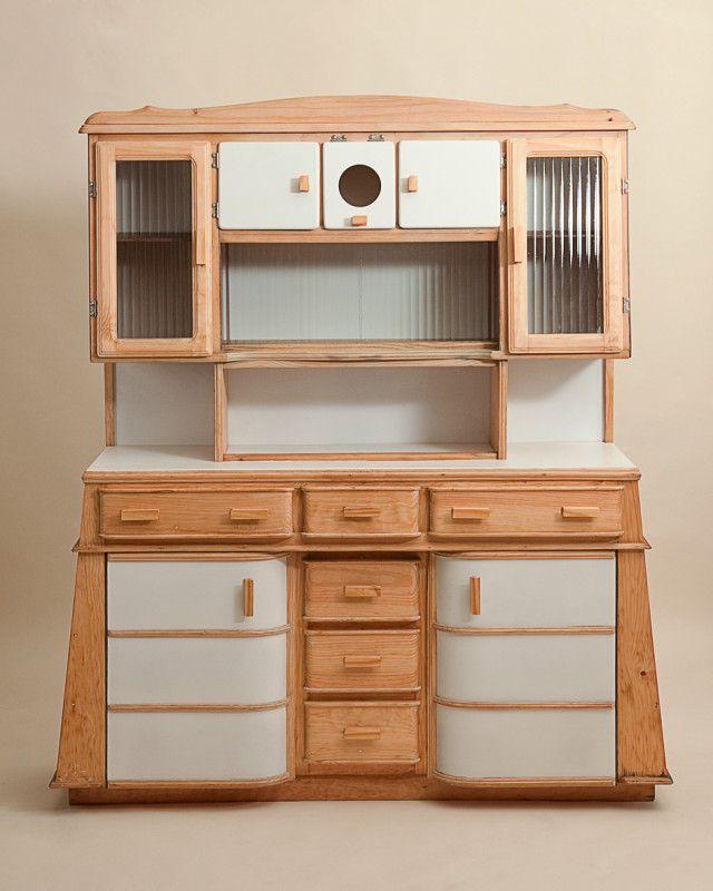 Art Deco Kitchen Cabinets: Original Glass Sliding Doors