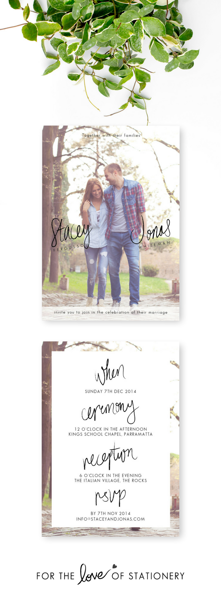 Rustic Wedding Invitations with Photos | Hand Lettering | Modern ...