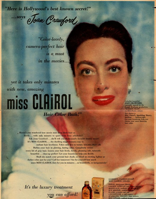 Joan Crawford For Miss Clairol Vintage Hair Products In 2019