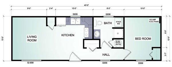12 by 40 house plans Cottage Floor Plan 1 Houses - Tiny houses - copy garage blueprint maker
