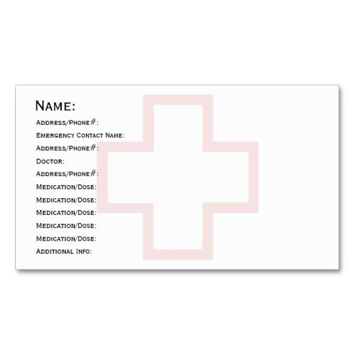Medical Id Cards Memory Impairment Dementia Business Card