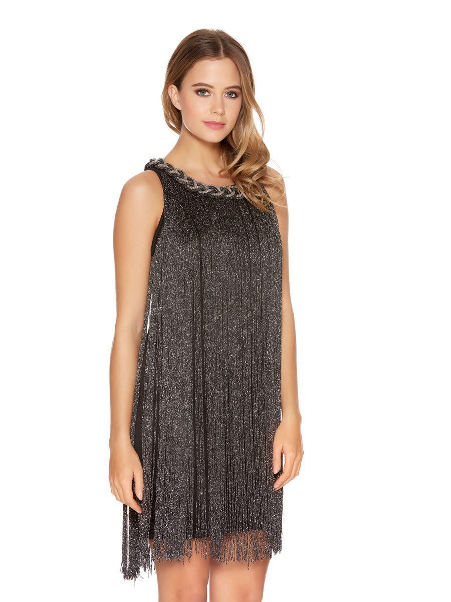 5673c6319f5 Black Fringe Pleated Necklace Dress - Quiz Clothing