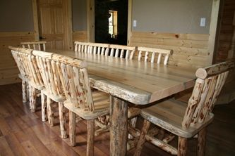 Lodgepole Pine Dining Table & Chairs | Pine dining table ...