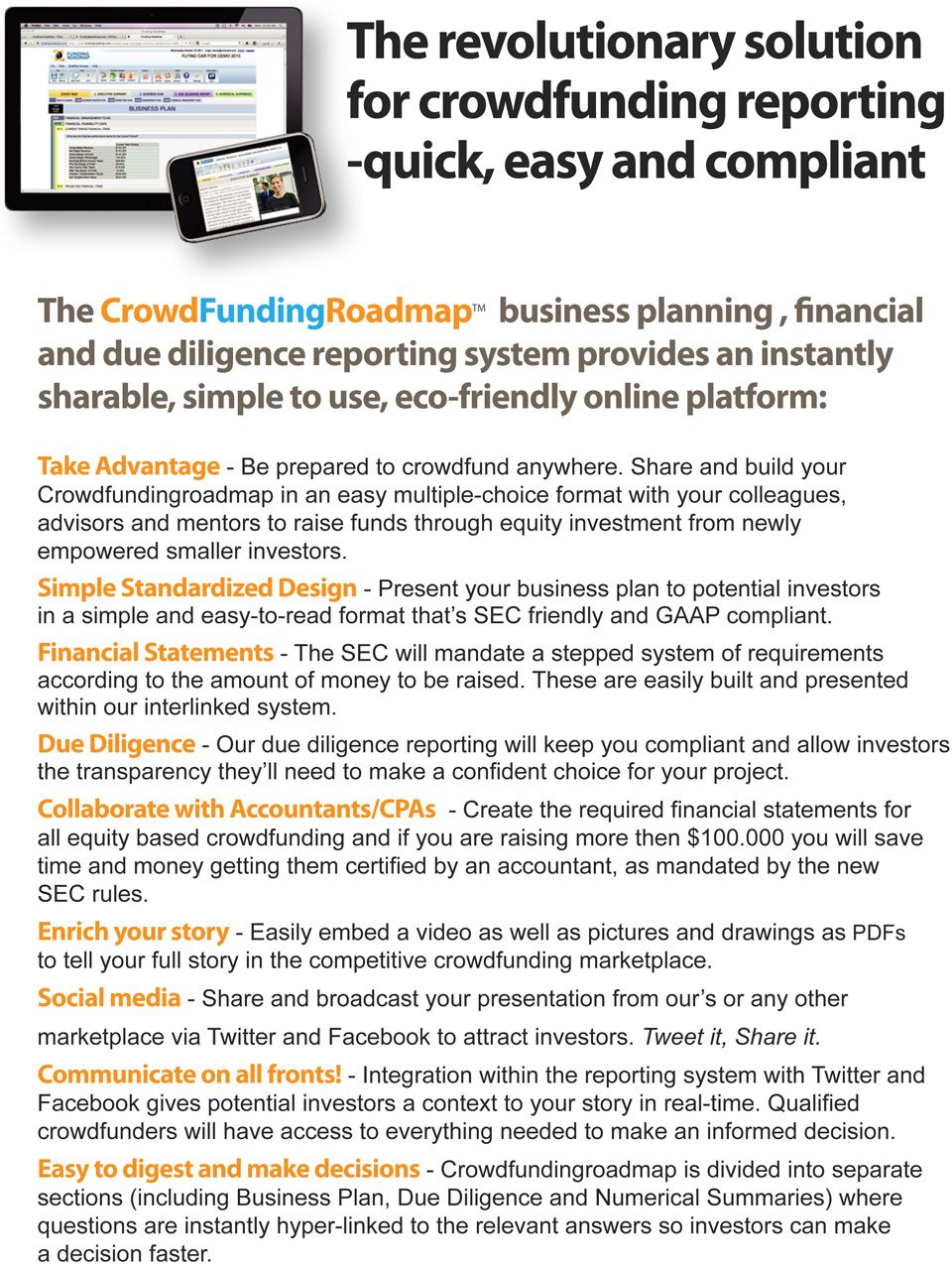 Crowdfundingroadmap business plan and due diligence