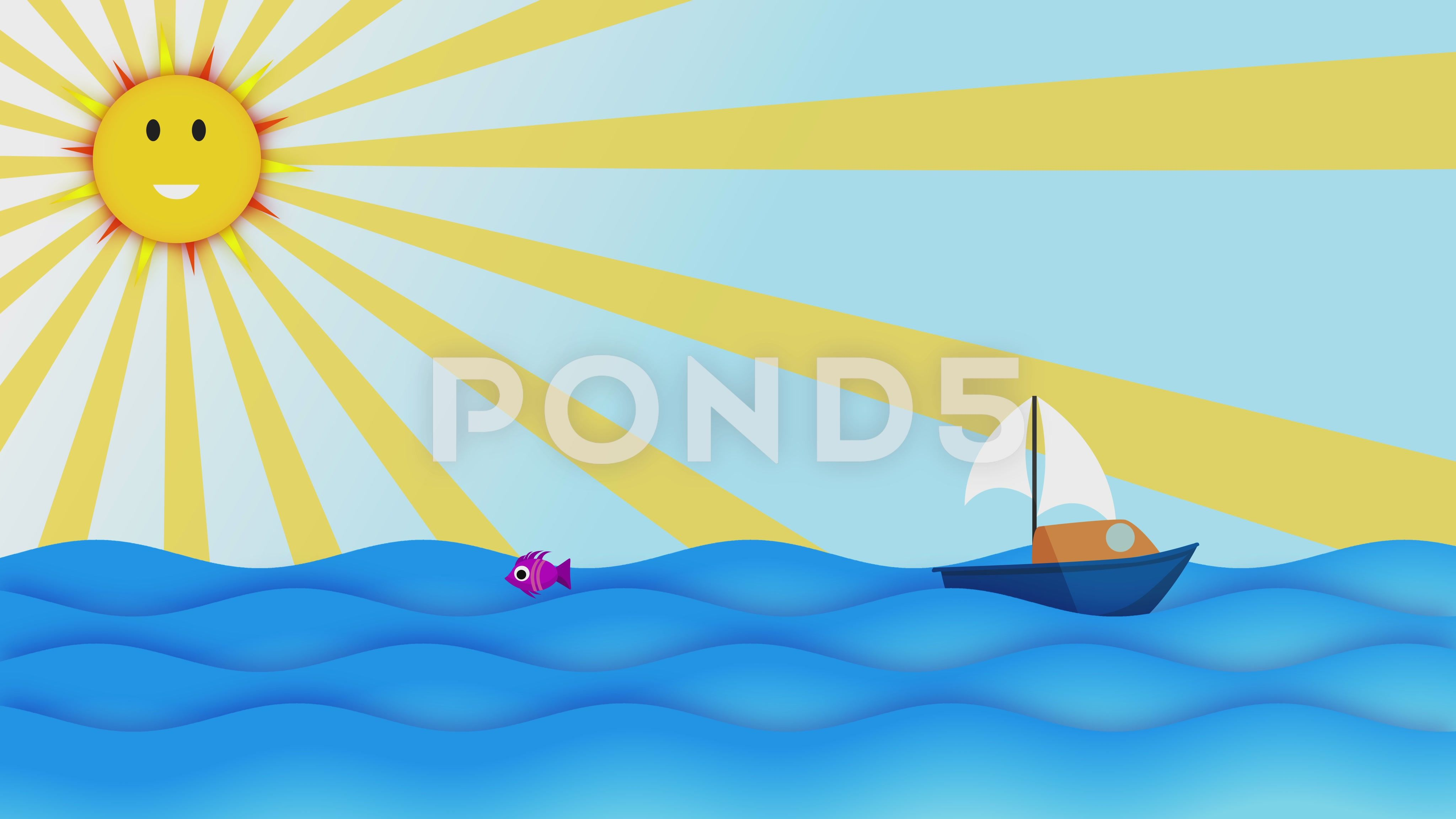 Cartoon Boat Sailing Slowly In The Ocean Over Sunny Blue Sky
