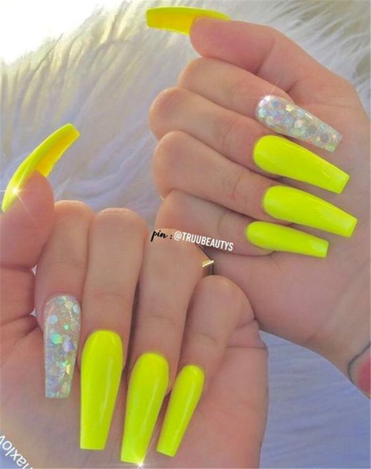 50 Gorgeous And Stunning Yellow Coffin Nail Designs You Would Love To Try Page 4 Of 50 Women Fashion Lifestyle Blog Shinecoco Com Neon Acrylic Nails Yellow Nails Yellow Nails Design