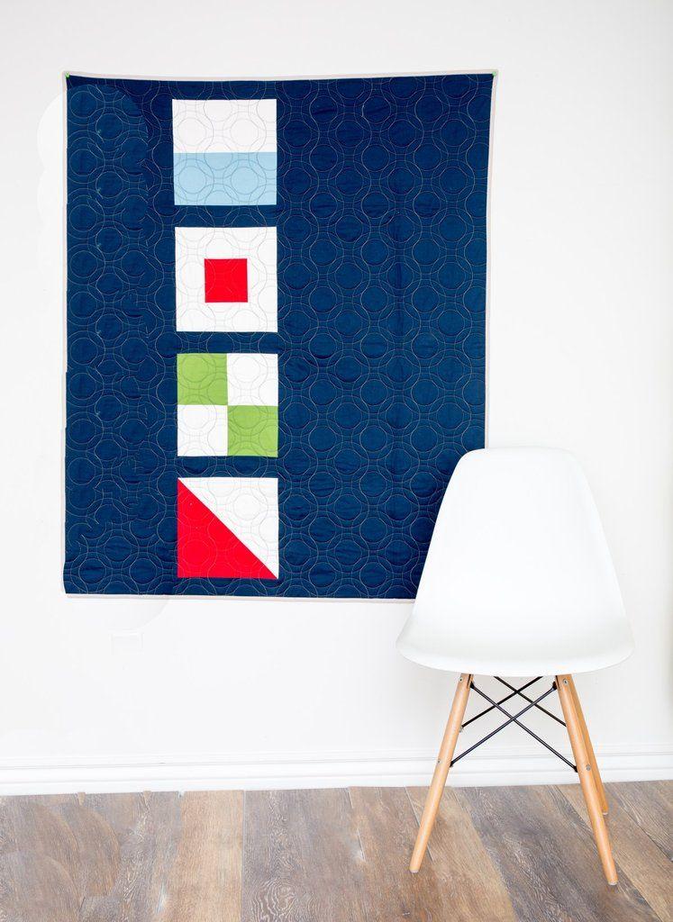 Sophisticated Modern Nautical Nursery: KIT (Quilt): Nautical Summer Quilt ALong Modern Baby Quilt