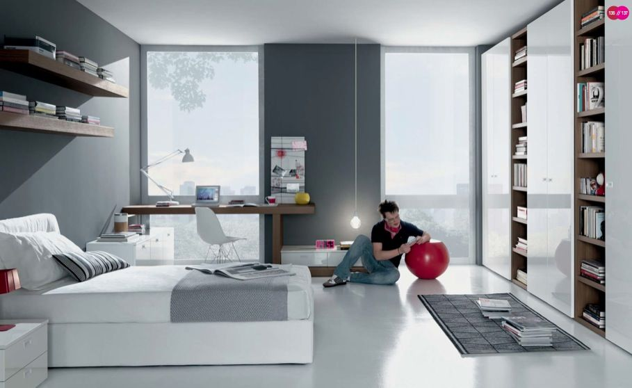 Modish Teens Room Design In Grey White Interior Theme With Gray