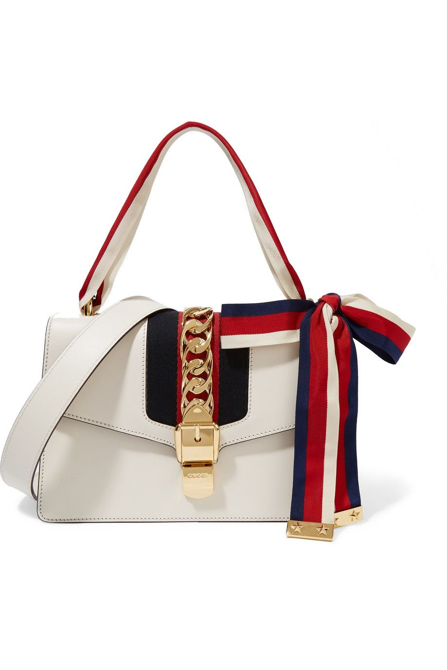 af4a151222700 GUCCI Sylvie canvas-paneled leather shoulder bag