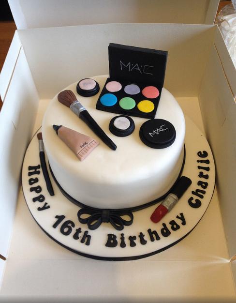 Happy 16th Birthday Charlie Mac Makeup Themed Birthday Cake Birthday Cakes For Teens Birthday Cake Girls Make Up Cake