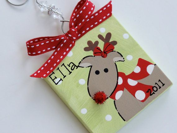 Hand Painted Canvas Rudolph the Reindeer ornament  crafty things