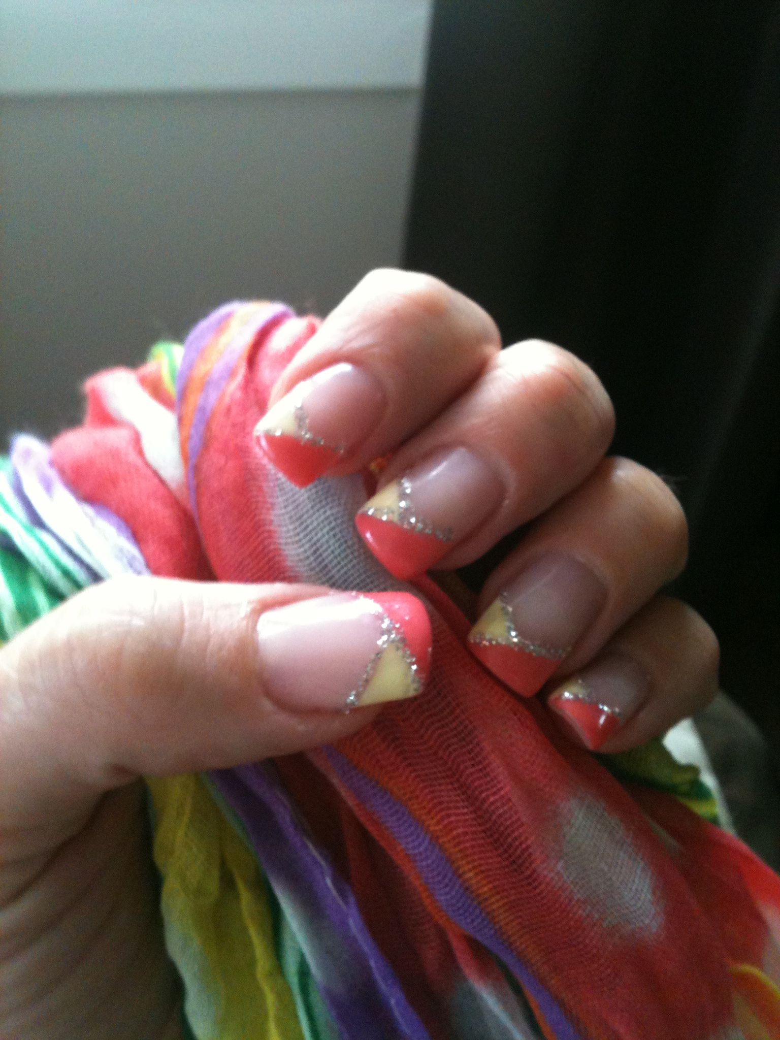 Summer gel nail French manicure. Love the Coral, yellow And silver ...