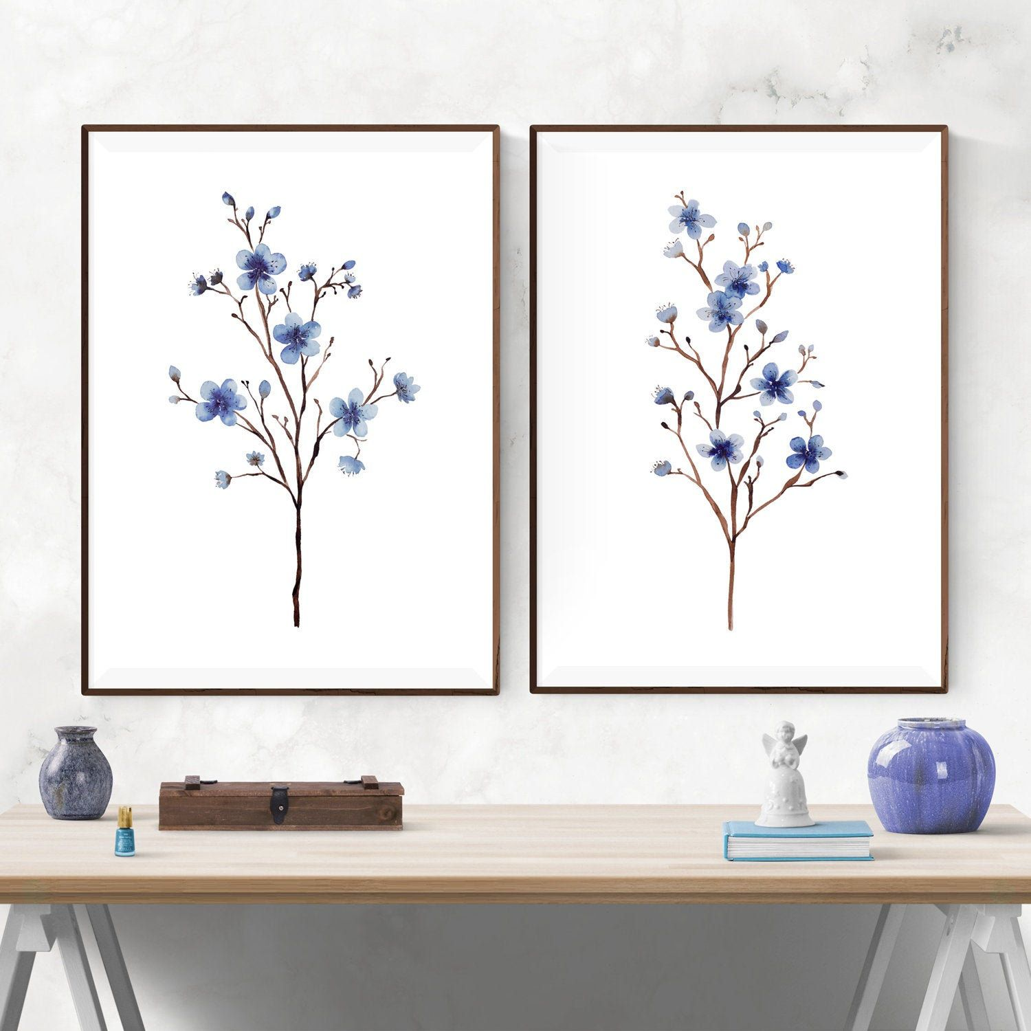 Navy Blue Flower Printable Wall Art Cherry Blossom Watercolor Etsy In 2021 Printable Wall Art Wall Printables Wall Art Decor Living Room