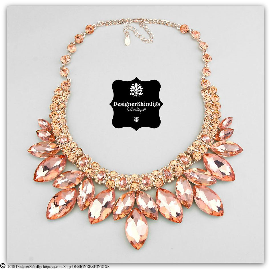 64d8a0c16b Chunky Rose Gold Peach Rhinestone Statement Bridal Bib Necklace and  Earrings Set Marquise on Etsy