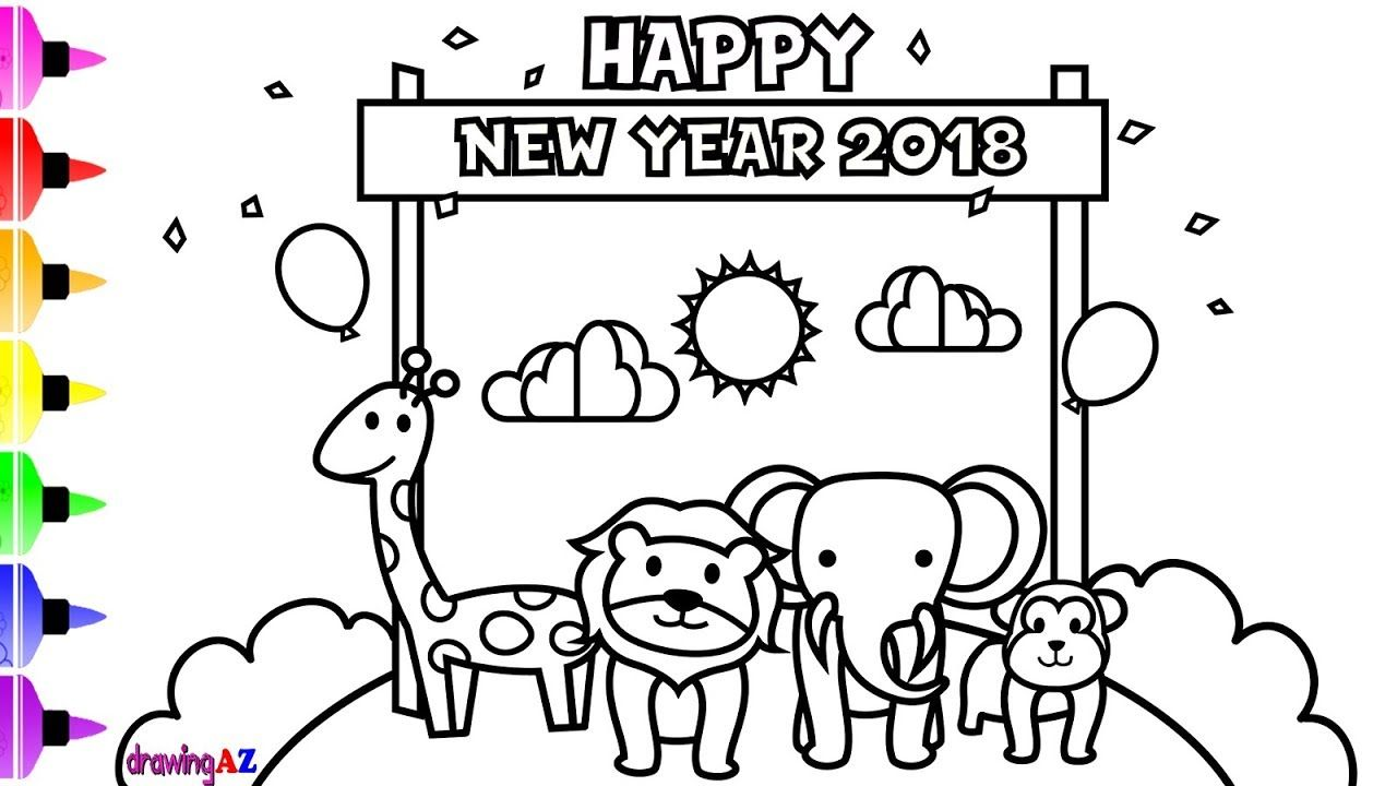 Happy New Year with Wild Animals Coloring Page for Kids and ...