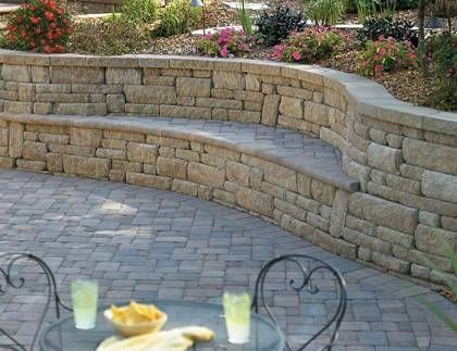 Curved bench in wall retaining wall benches pinterest for Curved garden wall ideas