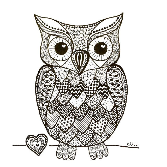 zentangle hibou alice gerfault dessins cr ations. Black Bedroom Furniture Sets. Home Design Ideas
