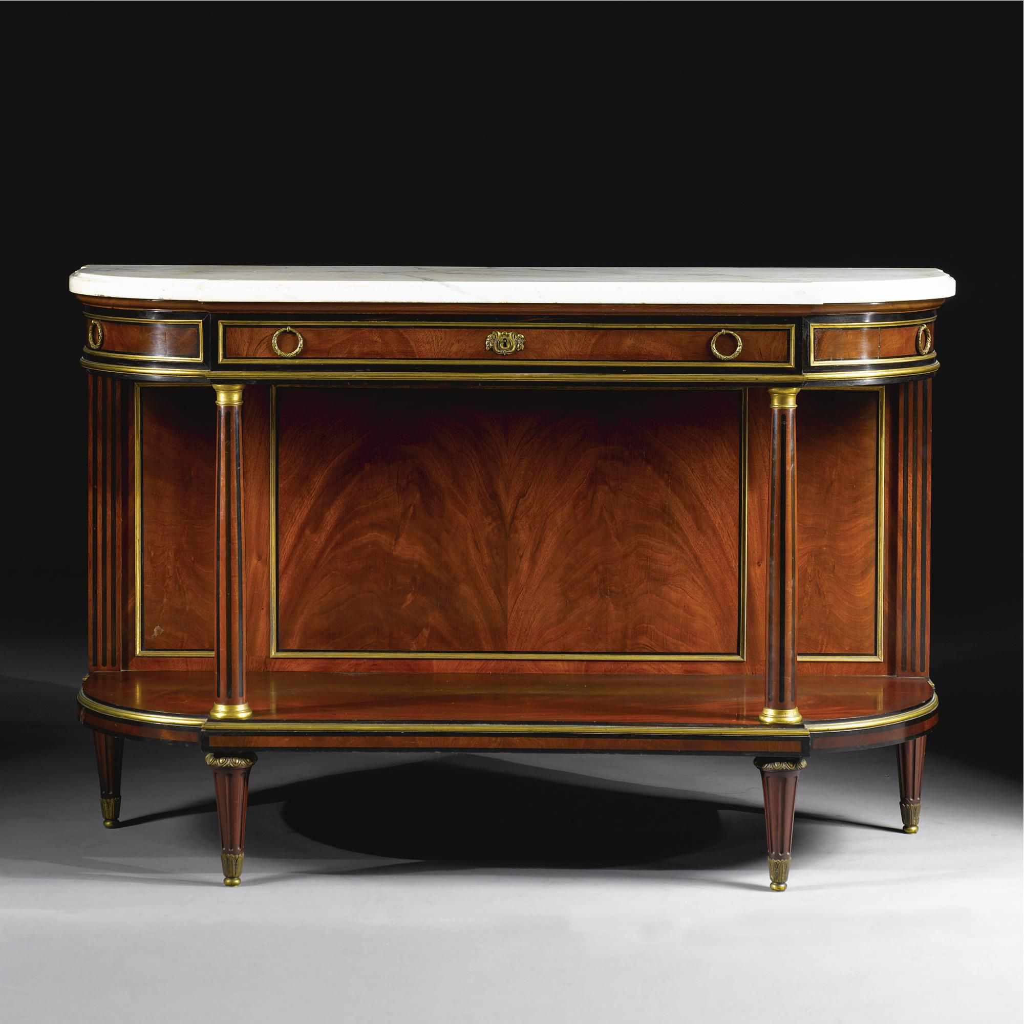 Attributed To Maison Krieger Br Fl 1826 1900 Br A Fine Louis Xvi Style Mahogany And Ebony Console Br P Paris Cir Century Furniture Louis Xvi Style Louis Xvi