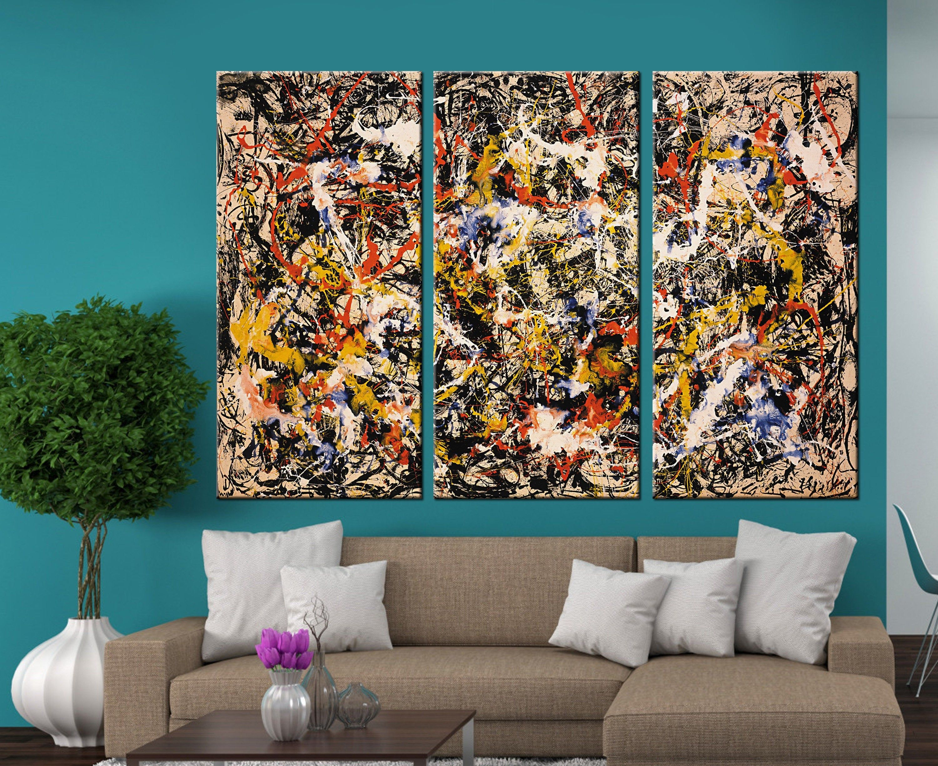 Jackson Pollock Canvas Pollock Wall Art Pollock Multicolor Etsy Custom Canvas Art Large Canvas Art Wall Art