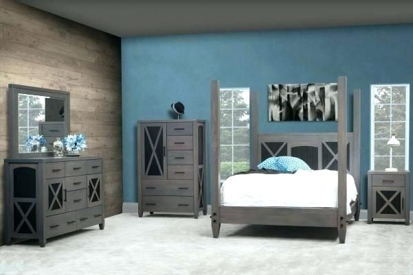 Slate Blue And Gray Bedroom This Grey Furniture Set Is Two Toned In White Oak The