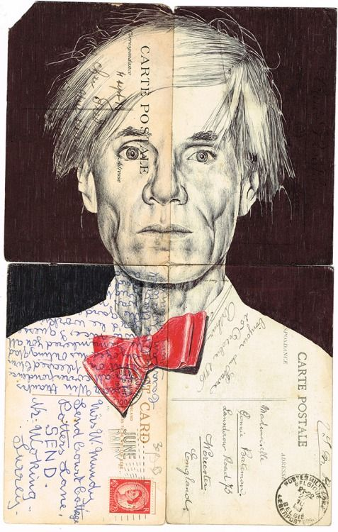 'ANDY' bic biro drawing on a collection of vintage postcards.