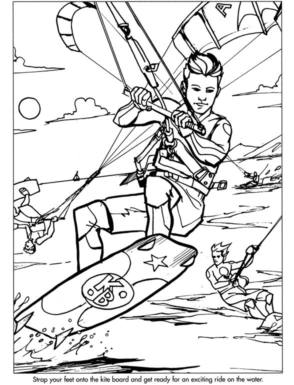 Dover Sample pages from Extreme Sports coloring book