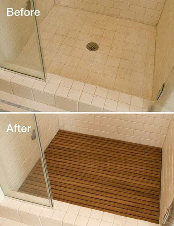 Adding teak to your shower floor instantly upgrades the look and hides the  ugly drain. - Teak Shower Floor Inserts Various Pre-made Sizes Or Custom