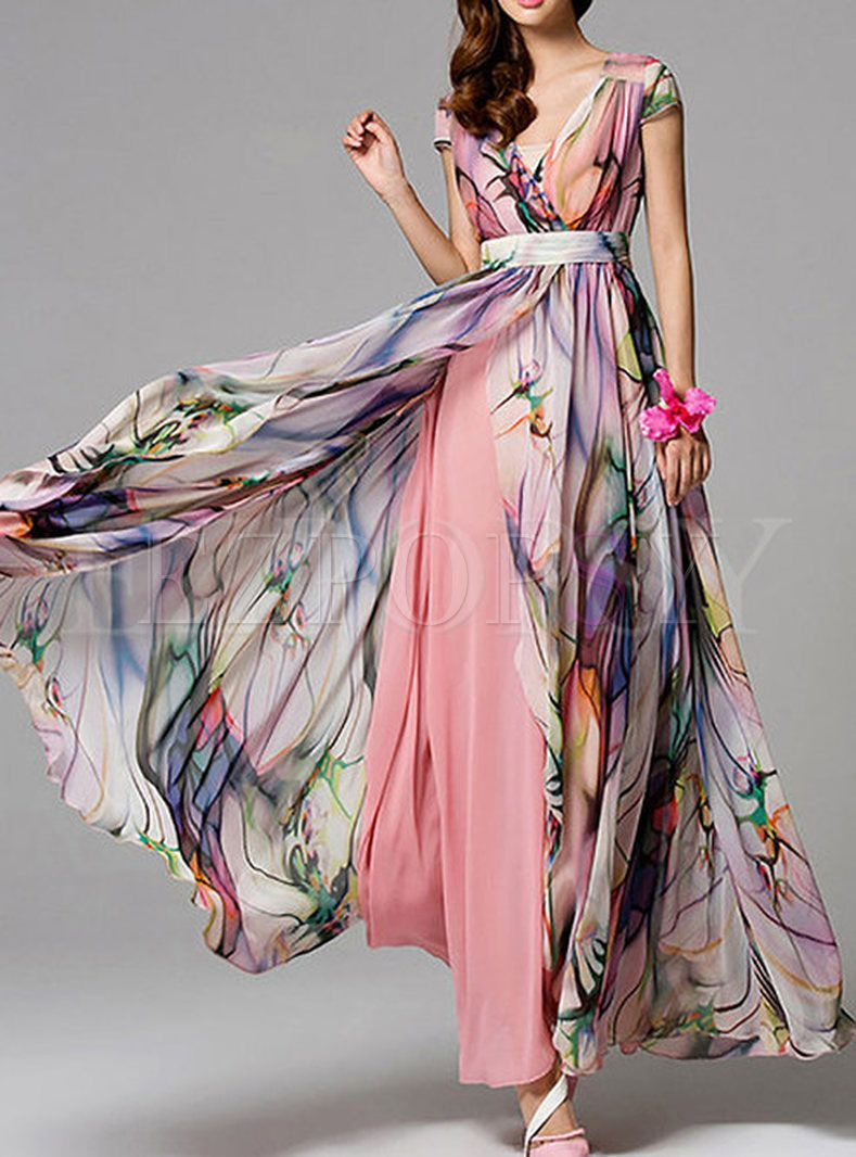 Summer Sleeveless Bohemian Maxi Dress #chiffonshorts