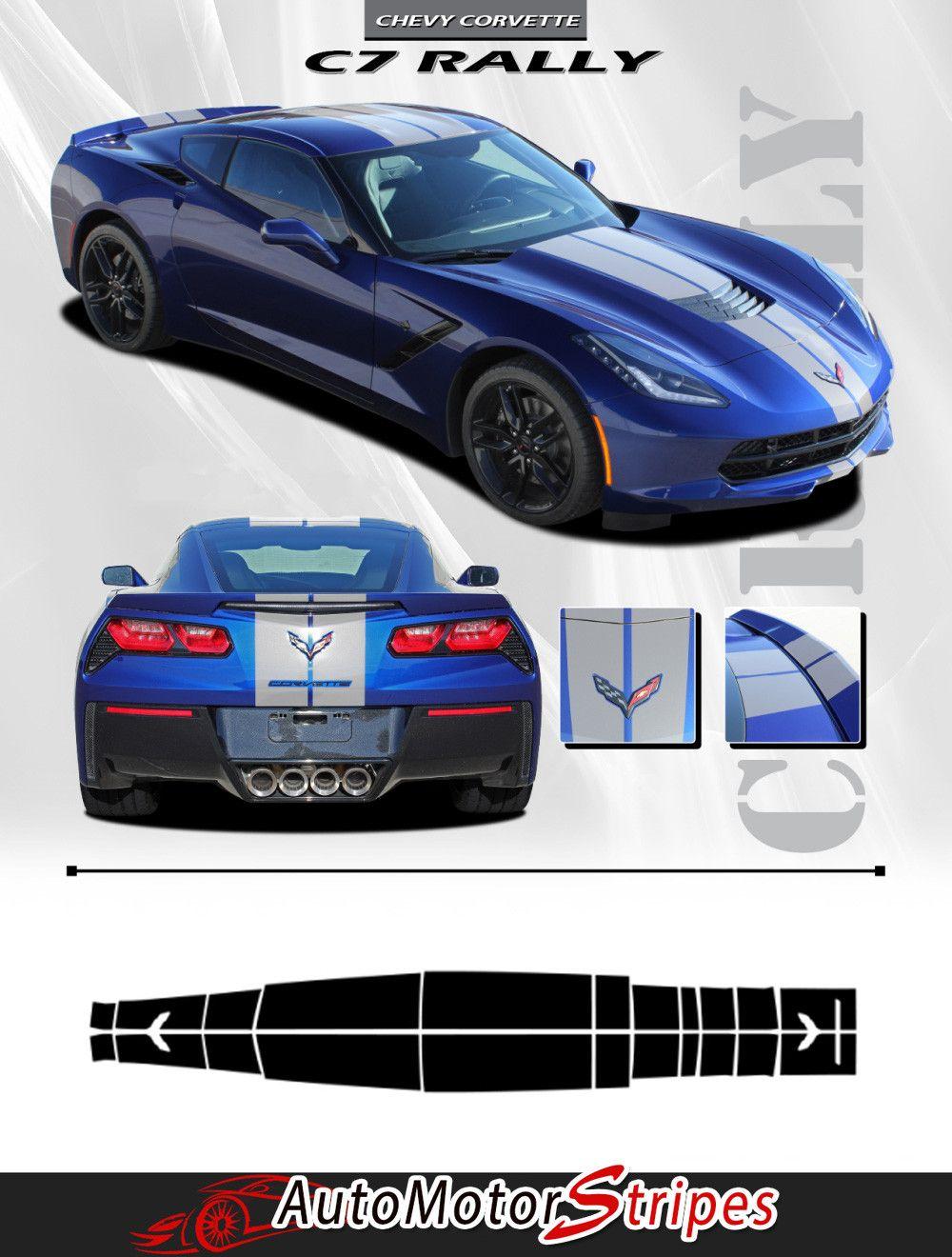 2014-2018 Chevy C7 Corvette Rally Racing Stripes Bumper