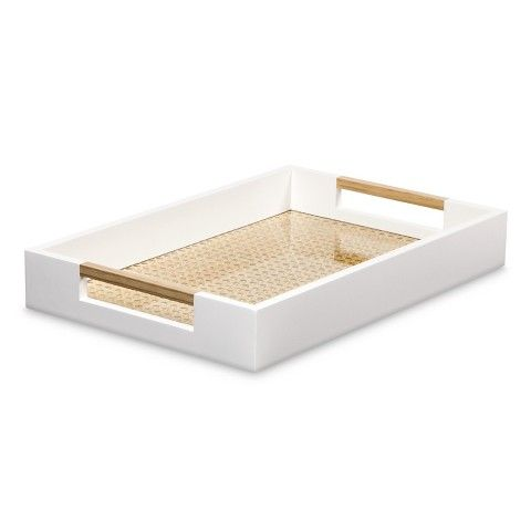 Threshold™ Decorative Tray with Cane Detail - White  Decorative