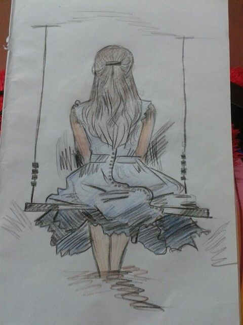 Girl On The Swing Simple Drawing In 2019 Easy