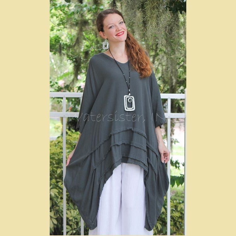 OH MY GAUZE Cotton Drip-Side GENEVA Long Tunic OSFM PLUS  (XL/1X/2X/3X) GRAPHITE #OhMyGauze #Tunic