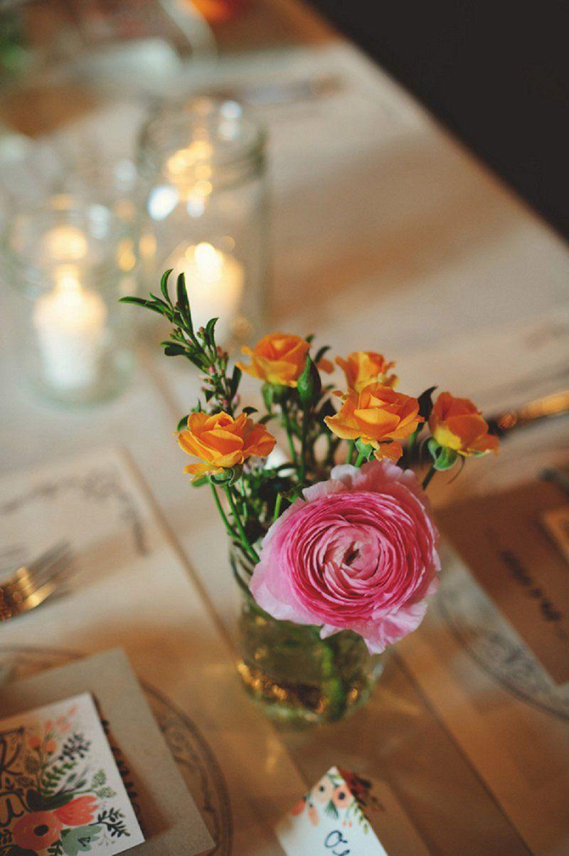 Colorful u eclectic winter park farmerus market wedding mason jar