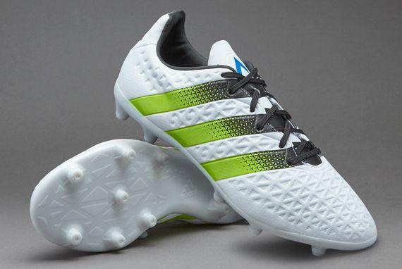 buy online f55e1 ce118 adidas ACE 16.3 FG AG - White Semi Solar Slime Shock Blue