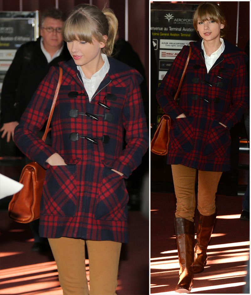 Red and navy plaid toggle coat at Nice airport in France Style