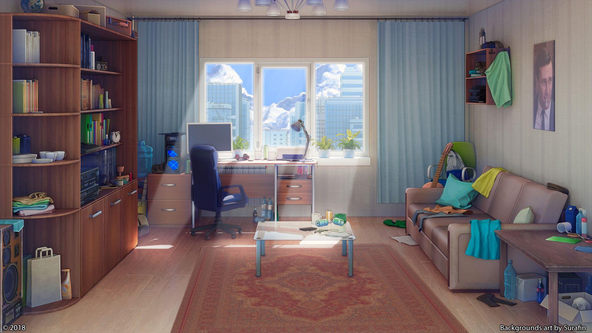 ArtStation Living room, Evgeniy Slushev Cenário anime