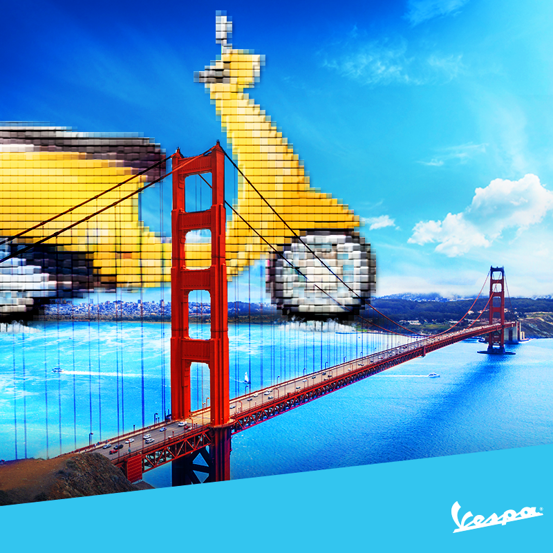 Play for the #Vespa.  Pixels.