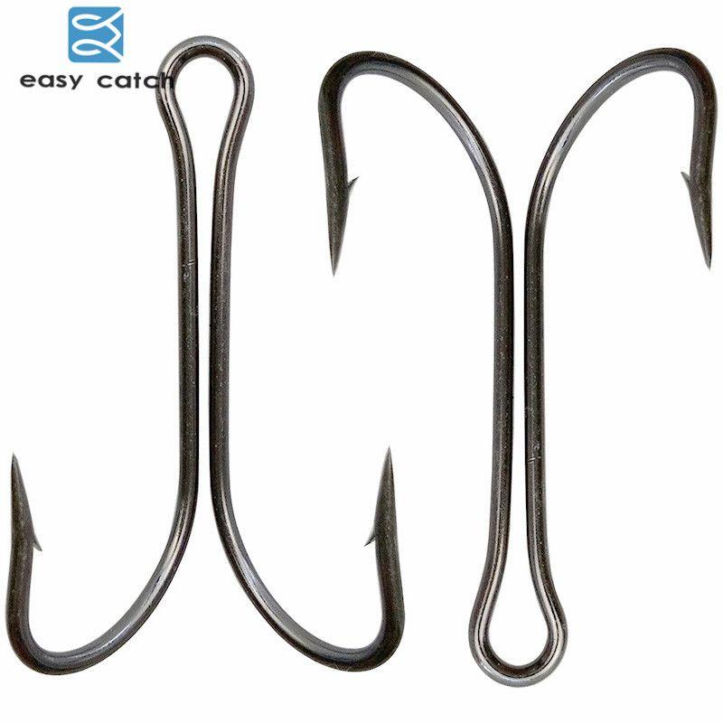 100 PCS 2//0# 3//0# 4//0# 5//0# Baitholder Hook Jig Fishing Hooks Black Carbon Steel